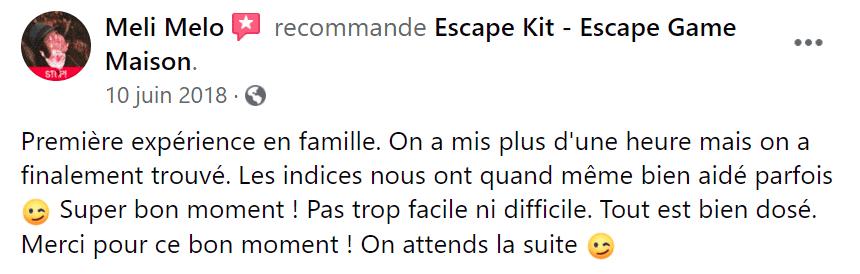 Avis escape kit escape game maison